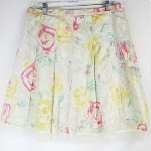 Anthropologie Odille Skirt 12 Watercolor Floral